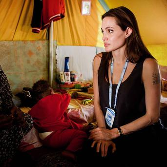 Angelina Jolie visited refugees on the Tunisian-Libyan border