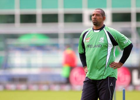 Ireland coach Phil Simmons during the warm up before the match against New Zealand