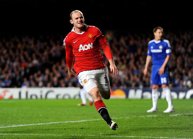 LONDON, ENGLAND - APRIL 06: Wayne Rooney of Manchester United celebrates after scoring the opening goal during the UEFA Champions League quarter final first leg match between Chelsea and Manchester United at Stamford Bridge on April 6, 2011 in London, England. (Photo by Mike Hewitt/Getty Images)