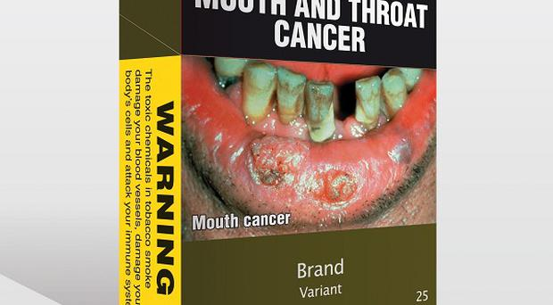 Computer-generated image showing a plain cigarette package set to be introduced by the Australian government