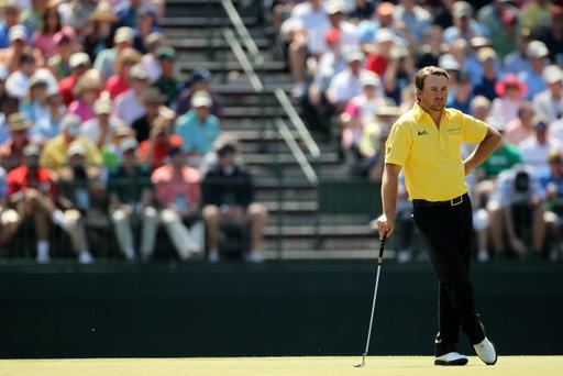 AUGUSTA, GA - APRIL 07: Graeme McDowell of Northern Ireland looks on from the 15th hole during the first round of the 2011 Masters Tournament at Augusta National Golf Club on April 7, 2011 in Augusta, Georgia. (Photo by Jamie Squire/Getty Images)