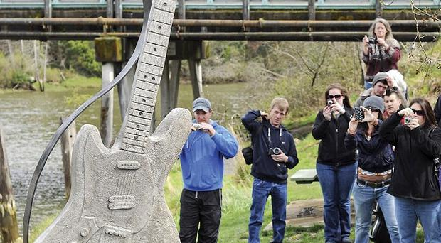 A large concrete guitar commemorating Kurt Cobain unveiled 17 years after his suicide