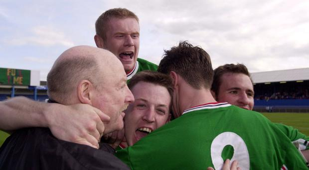 These scenes of celebration that were sparked by Sean Armstrong (centre) back in April 2000 are still remembered by Glentoran