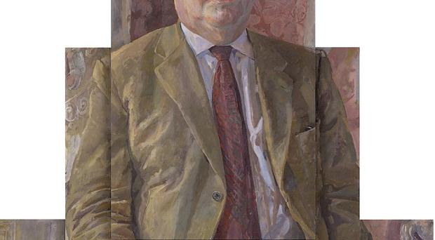 A portrait of Downton Abbey creator Julian Fellowes, painted by Daphne Todd