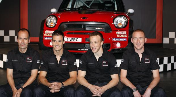 Dani Sordo and co-driver Carlos del Barrio along with Kris Meeke and co-driver Paul Nagle at yesterday's launch