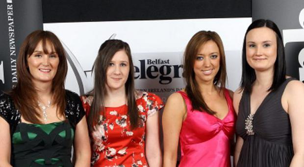 Belfast Telegraph Northern Ireland Business Awards 2011 in association with bmi at the Ramada Hotel in Shaw's Bridge. Belfast.Pictured left to right are: Roisin Molloy, Laura Houston, Lynda Campbell and Victoria Gault <b>Click image above to launch Gallery</b>