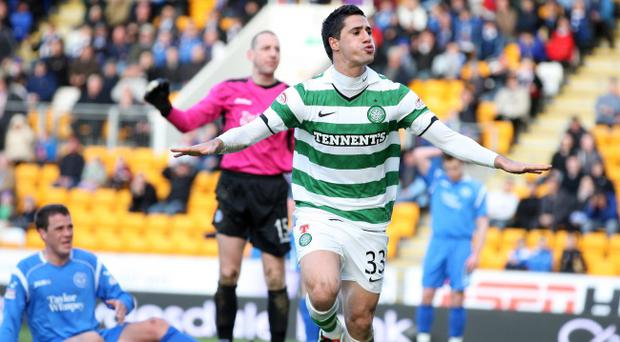 Beram Kayal celebrates after scoring the decisive goal for Celtic against St Johnstone last night