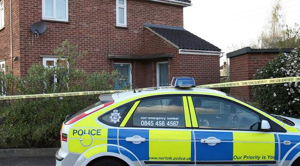 A police car outside a flat in Mill Close, Norwich, where a woman and two children were stabbed