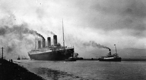 The Titanic leaves Belfast to start her trials, pulled by tugs, shortly before her disastrous maiden voyage.