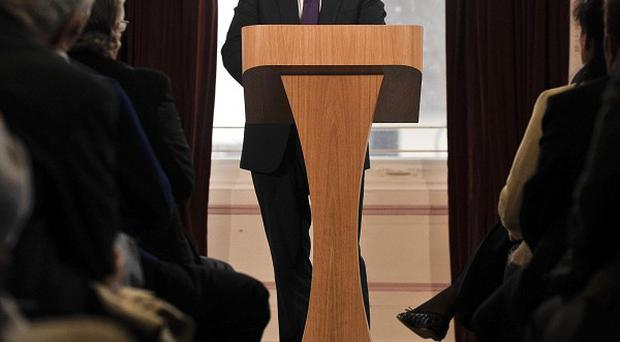 David Cameron makes his keynote speech at Romsey Town Hall, Hampshire (PA)
