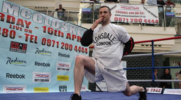 Paul McCloskey during a media call in Manchester's Triangle Shopping Centre