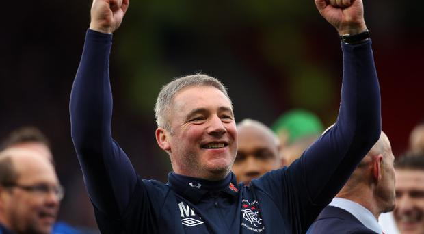 Ally McCoist, assistant manager of Rangers celebrate their victory over Celtic during the Co-operative Insurance Cup final between at Hampden Park on March 20, 2011 in Glasgow, Scotland. (Photo by Julian Finney/Getty Images)