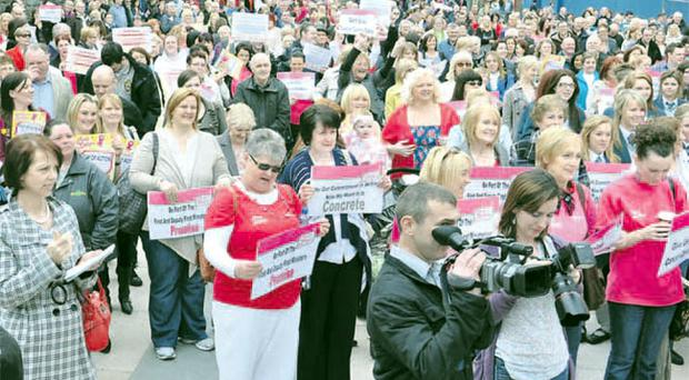 The scene at Guildhall Square where a day of action was held to protest at the Health Minister's decision