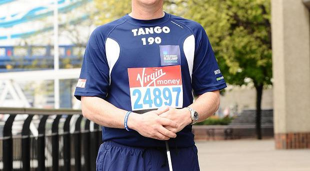 Pc David Rathband, who was blinded in both eyes when he was shot by Raoul Moat last summer, prepares for the London Marathon