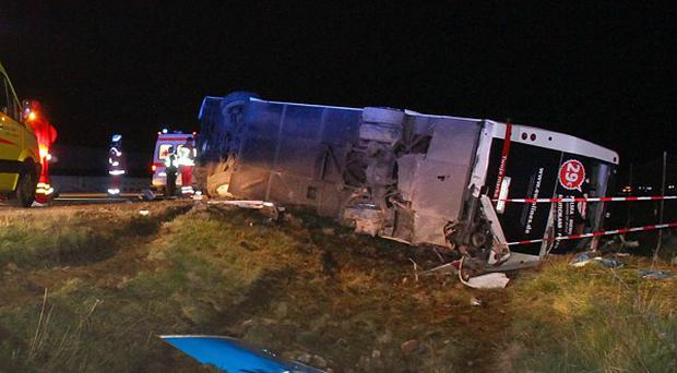 A number of people were injured when the bus toppled in eastern Germany (AP)