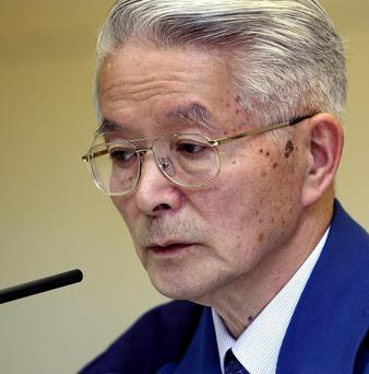 Tokyo Electric Power Co Chairman Tsunehisa Katsumata speaks during a news conference at the company's headquarters in Tokyo (AP)