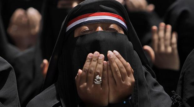 Female anti-government protestors at a demonstration in Sanaa, Yemen (AP)