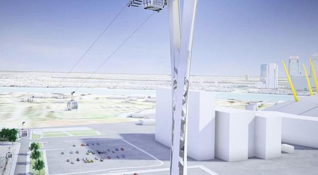 An artist's impression of the proposed cable car across the River Thames