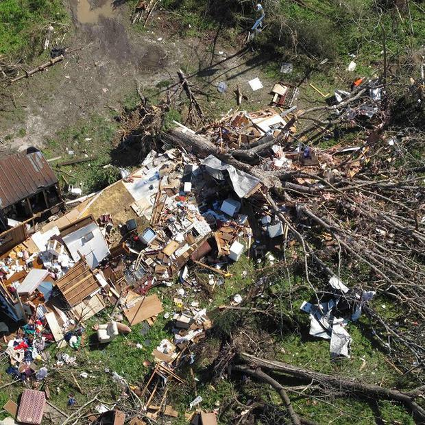 An aerial photo shows a severely damaged home hit by a tornado that ripped through the US state of Virginia (AP)