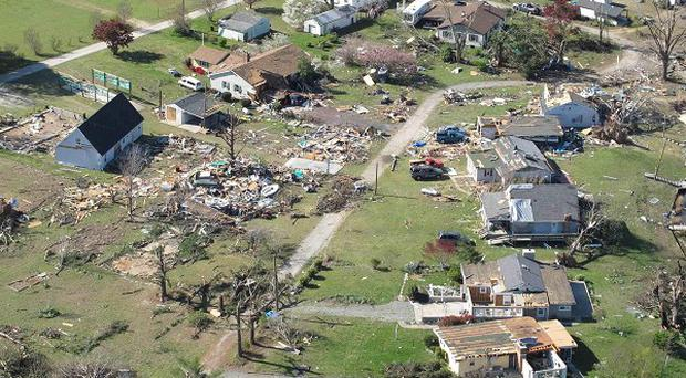 Homes were severely damaged by a tornado that ripped through areas of Virginia state in the US (AP)