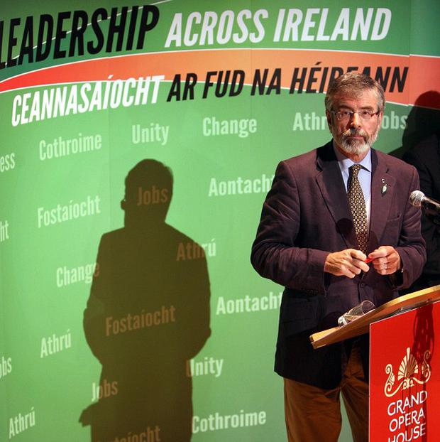 Sinn Fein president Gerry Adams launched his party's manifesto in Belfast
