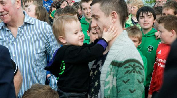 Dungiven boxer Paul McCloskey who was welcomed home by thousands of people in Dungiven