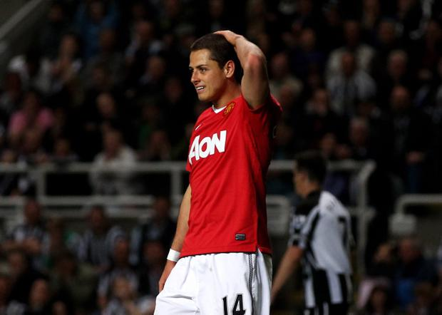 NEWCASTLE, UNITED KINGDOM - APRIL 19: Javier Hernandez of Manchester United reacts during the Barclays Premier League match between Newcastle United and Manchester United at St James' Park on April 19, 2011 in Newcastle, England. (Photo by Clive Brunskill/Getty Images)