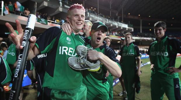 Ireland celebrate last month's historic World Cup victory over England