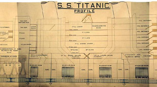 A detailed drawing of RMS Titanic used at Lord Mersey's inquiry into the 1912 disaster is going on public display for the first time in almost a century