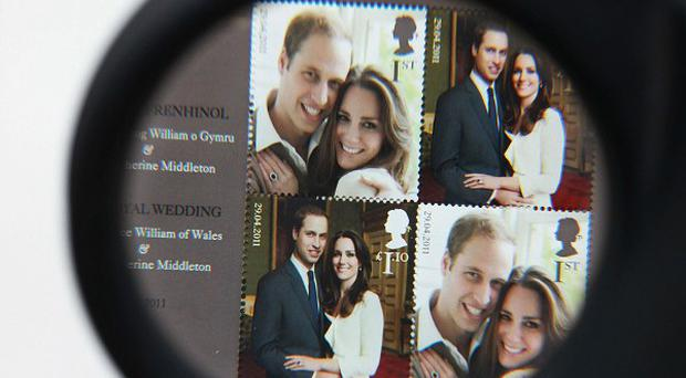 Stamps celebrating Prince William's marriage to Kate Middleton are on sale