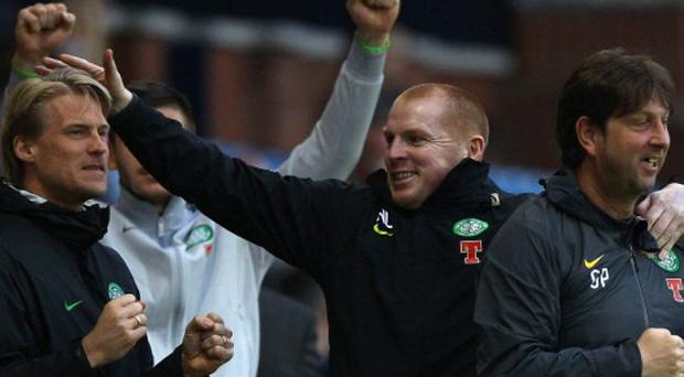 Neil Lennon celebrates a goal during the Clydesdale Bank Premier League match between Kilmarnock and Celtic at Rugby Park