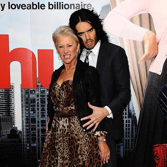 Russell Brand and Dame Helen Mirren arrive at the UK premiere of Arthur