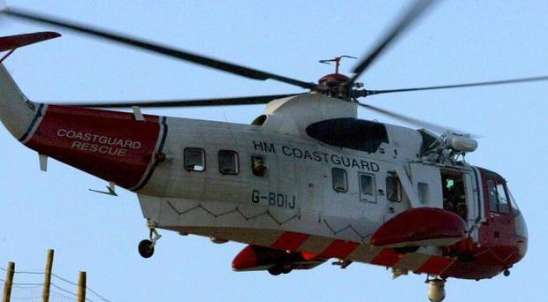 Coastguard helicopters were sent to search for the missing diver