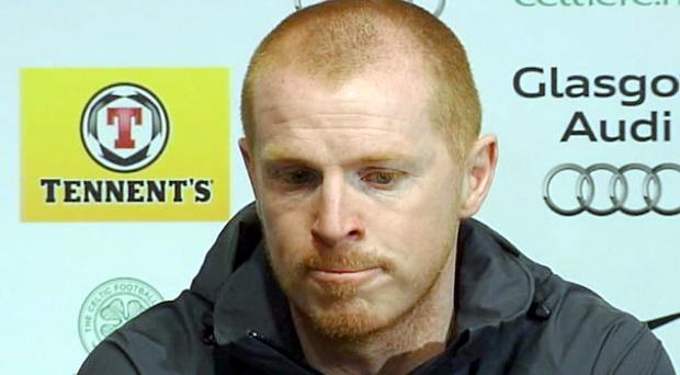 A sombre Neil Lennon talking yesterday about the hate campaign