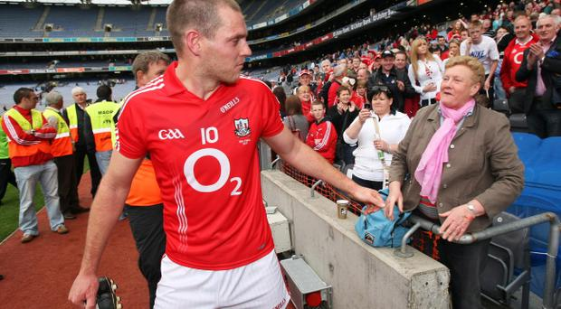 Cork's Pearse O'Neill is congratulated by his mother Peggy after the win over Dublin at Croke Park yesterday