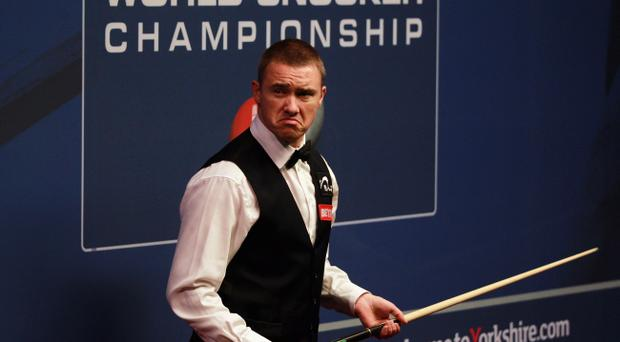 Stephen Hendry on his way to defeat yesterday