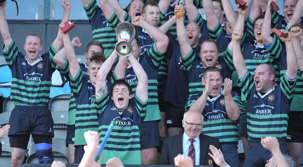 Clogher Valley celebrate Towns Cup final victory over Ballynahinch II at Ravenhill
