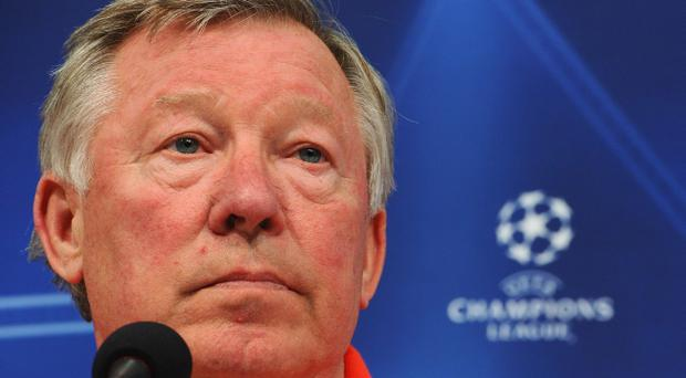 GELSENKIRCHEN, GERMANY - APRIL 25: Head coach Sir Alex Ferguson looks on during a Manchester United press conference ahead of the UEFA Champions League semifinal first leg match against FC Schalke 04 at Veltins Arena on April 25, 2011 in Gelsenkirchen, Germany. (Photo by Lars Baron/Bongarts/Getty Images)
