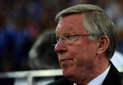 GELSENKIRCHEN, GERMANY - APRIL 26: Manchester United Manager Sir Alex Ferguson looks on prior to the UEFA Champions League Semi Final first leg match between FC Schalke 04 and Manchester United at Veltins Arena on April 26, 2011 in Gelsenkirchen, Germany. (Photo by Lars Baron/Bongarts/Getty Images)