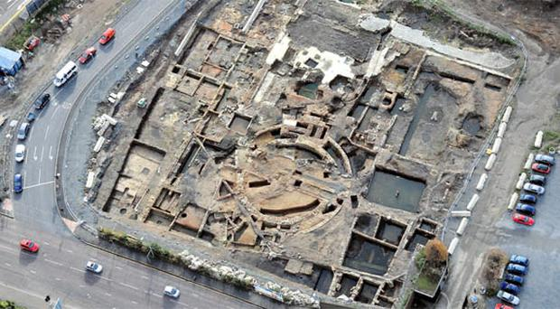 An aerial shot of the dig at Sirocco Works which uncovered evidence of the site's industrial history, including glass factories, ropeworks and iron foundries