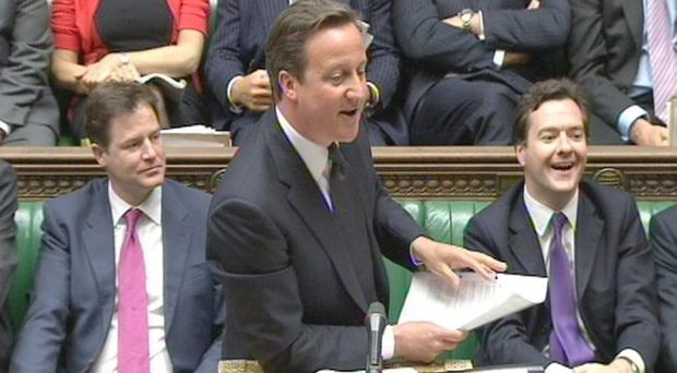 Prime Minister David Cameron speaking during Prime Minister's Questions in the commons