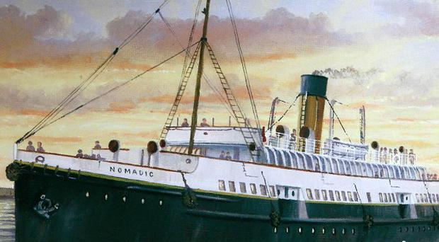 A painting of the SS Nomadic, the sister ship of the Titanic, which is celebrating its centenary