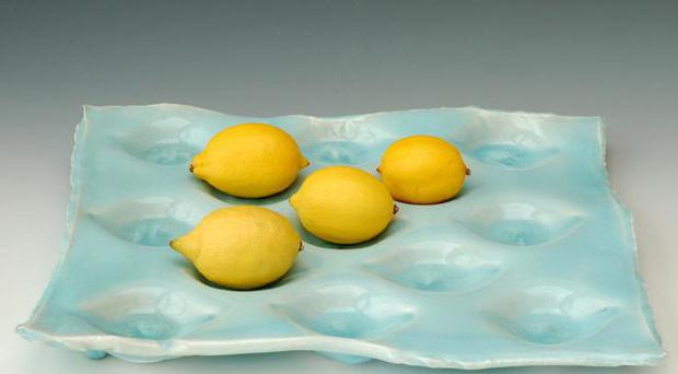<b>1. Fruit Tray</b><br/> Make the fruit the centre of attention with a dimpled tray made to order by ceramic artist Joanna Howells. Choose from a restrained speckled parchment finish or go crazy with a tray in iridescent sky blue. <br/> <b>Price: </b>£85, notonthehighstreet.com
