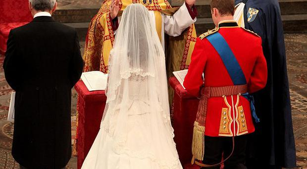 Kate Middleton and Prince William are married by the Archbishop of Canterbury