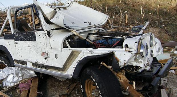 A Jeep ripped apart by the tornado which hit Phil Campbell, Alabama (AP)