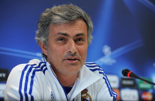 Head coach of Real Madrid Jose Mourinho during a press conference