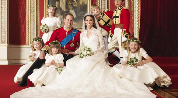 Handout photo issued by Clarence House of The Bride and Groom in the throne room at Buckingham Palace, TRH The Duke and Duchess of Cambridge in the centre with attendants, (clockwise from bottom right) The Hon. Margarita Armstrong-Jones, Miss Eliza Lopes, Miss Grace van Cutsem, Lady Louise Windsor, Master Tom Pettifer, Master William Lowther-Pinkerton. PRESS ASSOCIATION Photo. Picture date: Friday April 29, 2011. See PA story ROYAL Wedding. Photo credit should read: Hugo Burnand/Clarence House/PA Wire NOTE TO EDITORS: This handout photo may only be used for editorial reporting purposes for the contemporaneous illustration of events, things or the people in the image or facts mentioned in the caption. Reuse of the picture may require further permission from the copyright holder. NO MERCHANDISE OR COMMERCIAL USE