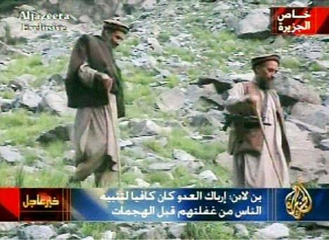 In this undated still from video released Sept. 10, 2003, Al-Qaida leader Osama bin Laden, left, and his top deputy Ayman al-Zawahri appear. A person familiar with developments on Sunday, May 1, 2011 says bin Laden is dead and the U.S. has the body. (AP Photo/Al Jazeera via APTN)