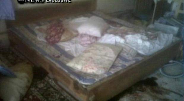 This frame grab from video obtained exclusively by ABC News, on Monday, May 2, 2011, shows a section of a room in the interior of the compound where it is believed al-Qaida leader Osama bin Laden lived in Abbottabad, Pakistan. Bin Laden, the face of global terrorism and mastermind of the Sept. 11, 2001, attacks, was tracked down and shot to death in Pakistan, Monday, May 2, 2011, by an elite team of U.S. forces, ending an unrelenting manhunt that spanned a frustrating decade. (AP Photo/ABC News)