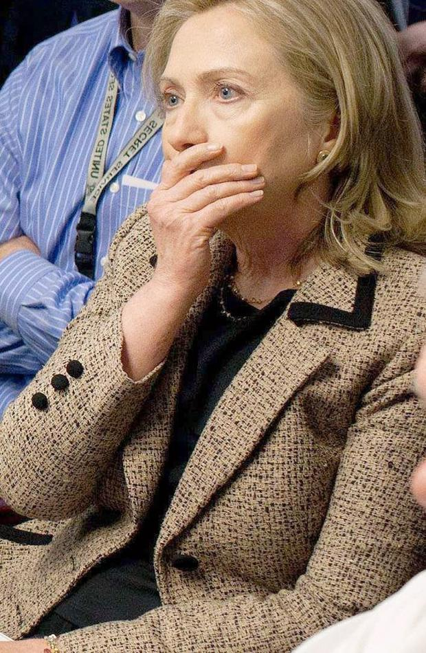 This image released by the White House shows US Secretary of State Hillary Clinton's reaction as she watches the attack on Osama bin Laden''s hideout